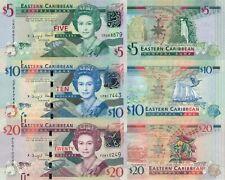 East Caribbean 3 Note Set: 5, 10 & 20 Dollars (2012/15), p-47, p52b, p-53b UNC