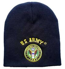 "8"" U.S. Army Emblem Military Black Embroidered Beanie Skull Cap Hat 601B"