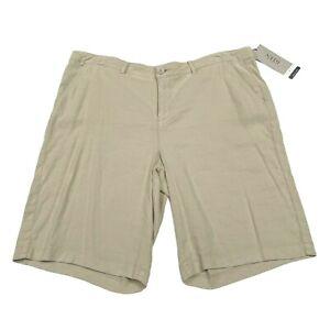 NYDJ 16 Tan Linen Blend Stretch Bermuda Walking Shorts Lift Tummy Tuck NWT $69