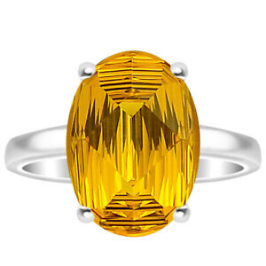 Yellow Sapphire Simulated 925 Sterling Silver Ring s.7.5 Jewelry E507
