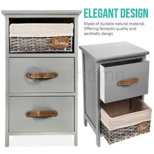 Bedside Table Unit Cabinet Wicker Basket Nightstand 2/3 Drawer Storage Bathroom