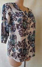 Millers size 16 black white teal print top 3/4 sleeve
