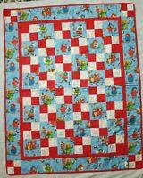 Paddington Bear Patchwork Baby Quilt Blanket Comforter Red Blue Handmade 38 x 48