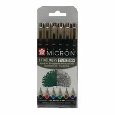 Pigma micron pen set 6 assorted colours 01 / 0.25mm colour fineliner Sakura