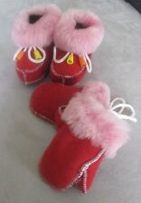 AUTHENTIC NEW HAND MADE SOFT FRENCH LAMB BABY / TODDLER BOOTIES WITH MITTENS