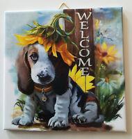 Dekofliese Wandbild Bildfliese Willkommen Hund (108DP) Geschenkidee Fliese
