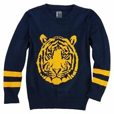No Retreat Boys' Orange Tiger Icon Navy Blue Light Pullover Sweater - Size M, XL