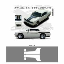 Dodge Challenger 2010 to 2011 Hood Stripes Graphic Kit - Bright White