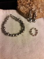 Gray Pearl Beaded Bracelet Earrings Ring Jewelry Set New QVC Jewelry