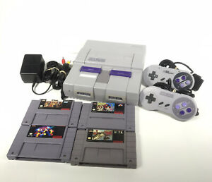 Super Nintendo SNES System Console With 4 Games & 2 Controllers Authentic Tested