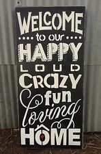 Welcome to Our Crazy Fun Loving Home Family Rules Wooden Sign Decoration Gift
