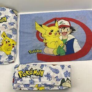 VTG Pokemon Twin Sheet Set Flat Fitted Pillowcase 1998 Nintendo Pikachu Ash