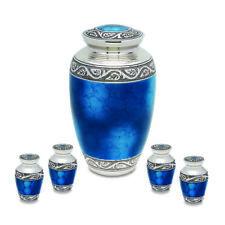 Grecian Blue Brass Funeral Cremation Urn Set -  Adult & 4 Keepsakes