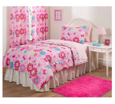 New Girl's Pink Floral Twin Size Comforter Set Bedding Bedspread Kid's Sheets