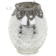 VINTAGE LACE TALL GLASS TEA LIGHT CANDLE HOLDER VASE GIFT HOME ORNAMENT NEW