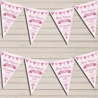 Pink Girls Watercolour Banner Holy Communion Personalised Christening Bunting