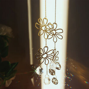 Crystal Sun Catcher Flower Rainbow Maker Suncatcher Wind Chime Window Hanging