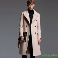 Men British Classic Double-breasted Warm Thick Cashmere Long Coat Parka Overcoat