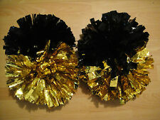 Child Adult Football Basketball Halloween Cheerleader 2PomPoms Black&Gold half