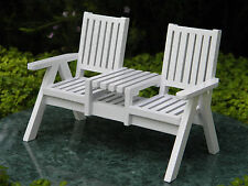 Miniature Dollhouse FAIRY GARDEN Furniture ~ White Wood Adirondack Loveseat NEW