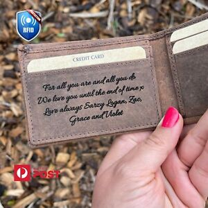 Personal Handwriting Gift Genuine Leather Wallet Engraved Message Bi fold Wallet