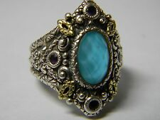 Barbara Bixby Turquoise Doublet & Amethyst Ring, Sterling/ 18K