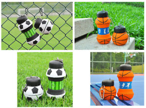 Sport themed  drinking bottles, collapsible, silicon, childrens, adults,BPA free