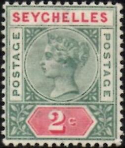 Seychelles 1890  QV  2c Green & Carmine (Die I)  SG.1  Mint (Lightly Hinged)