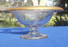 Heisey Footed Compote Etched Pattern With Rolled Edge and Gold Encrusted Trim