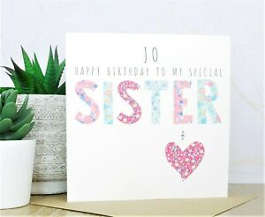 Personalised Handmade Special Sister Birthday Card