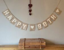 90th Birthday Bunting Banner Vintage Hessian Burlap Rustic