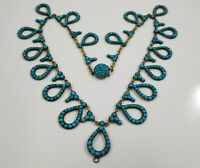 Victorian Pave Persian Turquoise Pendant Drop Necklace Silver Gilt
