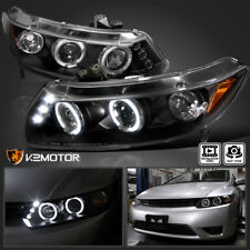For 2006-2011 Honda Civic 2Dr LED Halo Projector Headlights [JDM Black] Pair