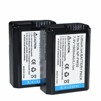 2x NP-FW50 Battery For Sony A5000 A5100 A7s A6000 A7 a7R NEX-5T