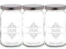 KitchenCraft New 3 x 454ml Printed Glass Round Jam Jar & Silver Twist Off Lid