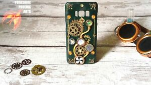 Steampunk handmade 3D phone case, green and gold, customisation for all phones