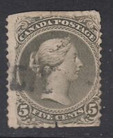 """Canada Scott #26iv  5 cent perf 11 3/4 x 12 olive green  """"Large Queen"""""""