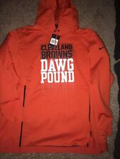 Mens Nike 2019 On Field Cleveland Browns Dawg Pound Hoodie Sweatshirt Size 2XL