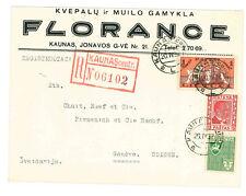 1937 Reg Airmail Cover Lithuania Kaunas to Switzerland Geneva Scott 292 297 298
