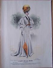 gravure ancienne mode couleur L'ART ET LA MODE XXV N° 25 - LUCY