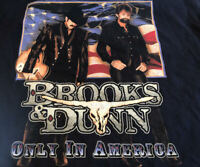 Brooks & Dunn Only In America Men's Country Music Graphic T-Shirt, Blue Size XL
