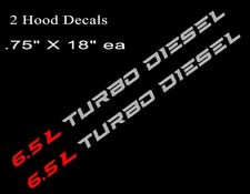 (2)  6.5L TURBO DIESEL Hood Decals Stickers Chevy Silverado GMC Sierra RD/SLV