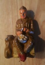 BARCLAY LEAD TOY SOLDIER PEELING POTATOES-1940