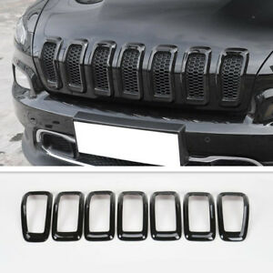 Jeep Cherokee Black Front Grille Inserts Mesh Trim Frame 7Pcs For 2014-2018
