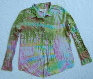 Tie Dye Green Pink Long Sleeve Button Down Shirt - Medium Ladies Psychedelic