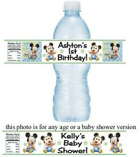 12 Baby Mickey Mouse Birthday Party Or Baby Shower Water Bottle Labels Stickers
