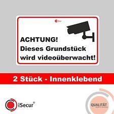 2 Stück iSecur Aufkleber Alarm Videoüberwacht, Digitaldruck, 10x6 Art. 130