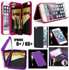 iPhone 6+ / 6S+ Plus Hidden Built-in Mirror Wallet Case w/ Stand + Card Holders