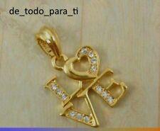 COLGANTE PALABRA LOVE CON PEQUEÑAS CIRCONITAS LAMINADO CON ORO 18K.CADENA 47 CM.
