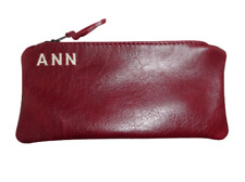 Pencil Case Real Soft Leather monogrammed Traditional Coin Pouch Clutch purse UK